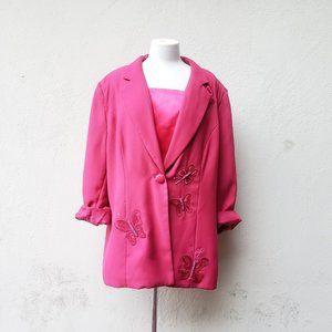 Vintage Oversized Hot Pink Butterfly Blazer 🦋